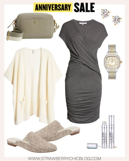 Love this gray dress paired with a creamy cardigan for a business casual look for the office.   #LTKstyletip #LTKsalealert #LTKworkwear