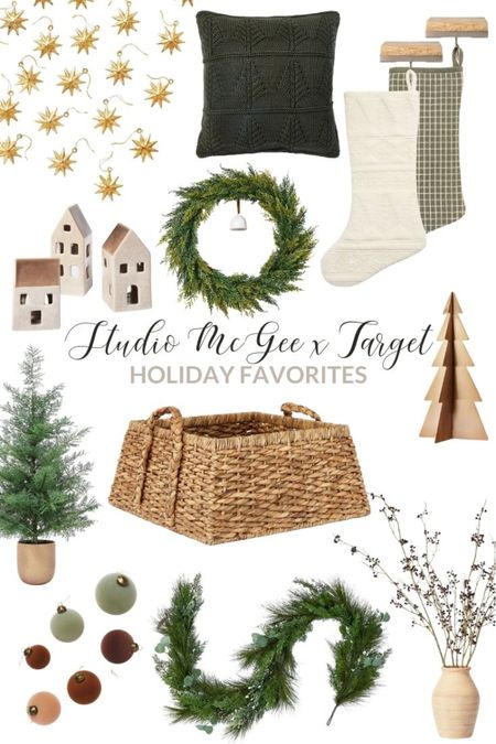 I've gathered my favorite holiday decor items from the Threshold designed with Studio McGee Christmas line! It's all so pretty, but my favorites are the green windowpane stocking, cream velvet stocking, pine tree in ceramic pot, berry plant arrangement, spruce wreath with bell, large velvet ornaments, gold star ornaments, gold antique tabletop tree, square woven tree collar, pine and eucalyptus garland, ceramic house candle holders, square green tree throw pillow, and the light wood and antique gold stocking holders. Love them all!! #LTKHoliday #LTKunder50 #LTKunder100 #LTKhome #LTKsalealert #LTKstyletip #LTKhome #LTKunder50  #LTKHoliday #LTKSeasonal #LTKunder50