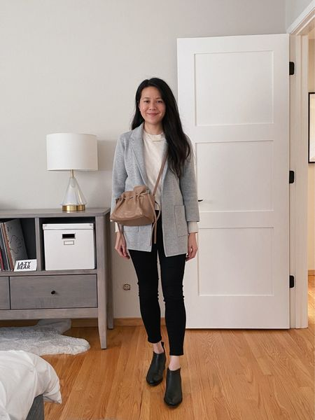 Warm indoor layers with this sweater blazer (or jardigan, as they say), recycled cashmere sweater, black cutout ankle boots and a slouchy crossbody.   #StayHomeWithLTK #LTKunder100 #LTKworkwear