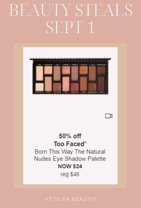 Ulta's daily beauty steals started this week and I'll be posting my favorites here ☺️ #ultabeauty #ultasalealert #toofaced #falleyeshadow  #LTKbeauty #LTKunder50 #LTKsalealert