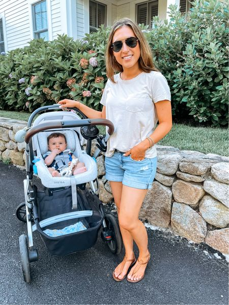 Everybody wants to be Christian with his personal fan #amiright  Arrived in Chatham yesterday & we're already in love. Comment below with any recs!  Also have been living in this under $20 T-shirt & it's on major sale right now plus an extra 20% off with code AUGUST!  Linking baby's stroller accessories, denim shorts, sandals, sunglasses, gold beaded bracelets, diaper bag, stroller, and T-shirt   #LTKunder100 #LTKtravel #LTKunder50