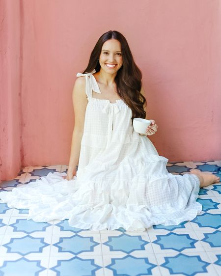 Love this dress a latte 😉  This ruffle maxi dress is so comfy! The adjustable bow straps are darling and the length is perfect for us petite gals!   #LTKunder50 #LTKunder100 #LTKstyletip