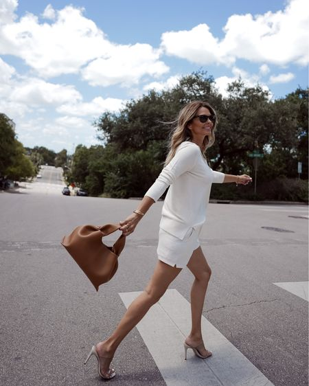 Knit Short set, everyday outfit, clear heels Herfashionedlife   #LTKSeasonal #LTKunder100 #LTKstyletip