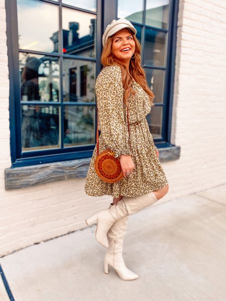 Fall transitional outfit idea with this darling olive leopard dress from petal and pup! I'm in a US 8 and do think this runs a bit big! Get your normal or size down one.   Perfect to pair with a knee high boot and your fave hat and could work for any occasion.     #LTKstyletip #LTKunder100 #LTKcurves