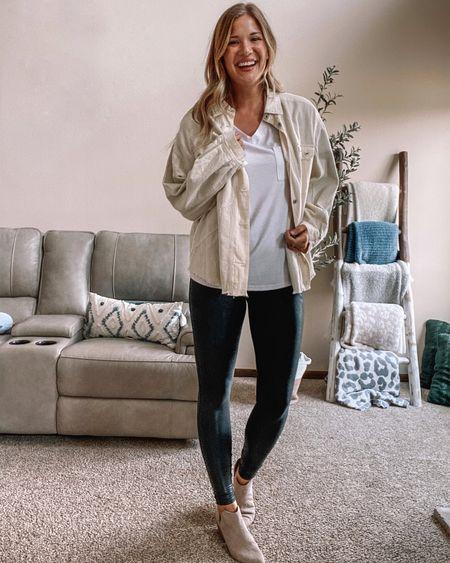 Amazon white v neck tee/ Spanx faux leather leggings on sale! I wear xl tall / ivory corduroy mixed media jacket / beige booties  #LTKstyletip #LTKsalealert #LTKunder100