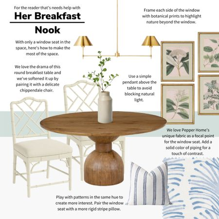 For the reader who has a window seat and needs help making it into a breakfast nook! We love this southern charm seating area for kitchen decor. Botanical prints and flashing patterns make it inviting and interesting. #breakfastnook #targetstyle #target #kitchendecor #grandmillenial   #LTKhome #LTKunder100
