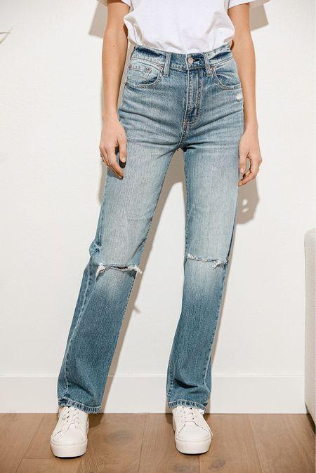Light Wash Distressed Denim High Rise Dad Jeans, dad jeans, high waisted jeans   #LTKunder100 #LTKsalealert #LTKSale