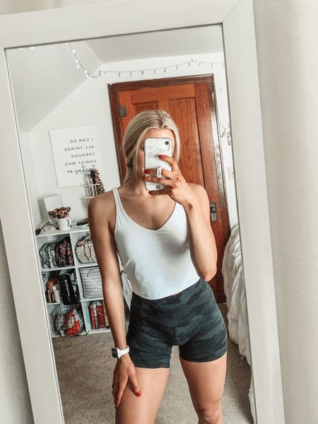 """This Amazon tank is such a good dupe for the lululemon align tank! And $22 vs. $58 for the lululemon one 🙌 wearing a size medium for length (the medium is two inches longer than a small).   My shorts are lululemon align short 6"""" but I will link some similar Amazon options!    #LTKfit #LTKunder50 #LTKunder100"""