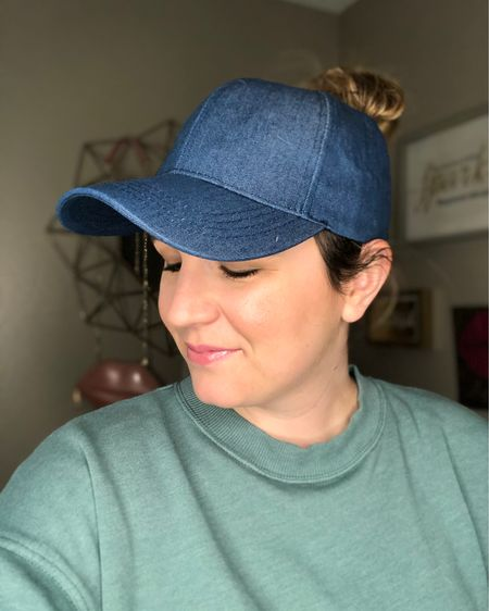 I'm getting more into hats! Have you tried messy bun hats? They have a higher hole for a higher pony tail and I love it! This denim/chambray one from Amazon will go with so much and it's super affordable.   You can instantly shop all of my looks by following me on the LIKEtoKNOW.it shopping app http://liketk.it/2NFvu #liketkit @liketoknow.it #LTKunder50 #LTKspring #StayHomeWithLTK