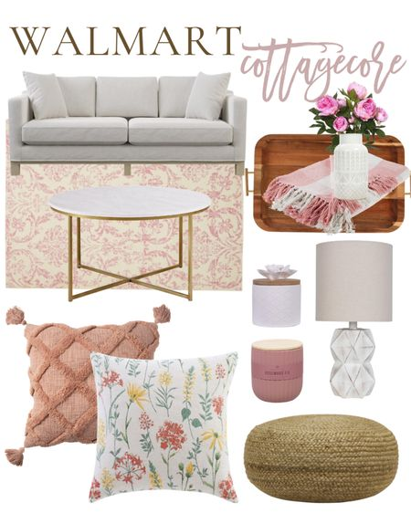 Hop on the cottagecore trend with these adorable cottage home decor finds from Walmart! Take note of the affordable sofa, marble and gold coffee table, pink damask rug, whitewashed faux wood lamp, jute pouf, and textured toss pillows! #ad http://liketk.it/3d7Jn #liketkit @liketoknow.it    #LTKhome #LTKstyletip  Affordable home decor, Walmart finds, look for less home, farmhouse decor, living room decor, pink decor, candles,  french country decor #LTKunder50