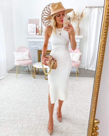 Featuring this versatile ribbed white dress in today's Friday Five, love it styled with some neutral tones and my favorite rancher hat from lack of color #liketkit http://liketk.it/2Vpt8 @liketoknow.it #LTKstyletip #LTKunder100 #LTKshoecrush