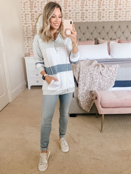 This stripe pullover is perfect for weekend games! ⚾️ It's great for fall-ish 🍁 weather too.  I like to pair it with my favorite stretch jeans and sneakers! 👟👖  Sweater Size Small  Jeans 25 Short   #LTKstyletip #LTKSeasonal #LTKsalealert