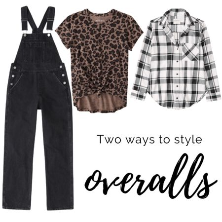 Two fun ways to style overalls. Save 25% off during the LTK Sale!  Denim : Jeans : Cheetah : Leopard : Fall : Plaid : Shacket : Flannel : Fall Outfit   #LTKSale #LTKstyletip #LTKsalealert