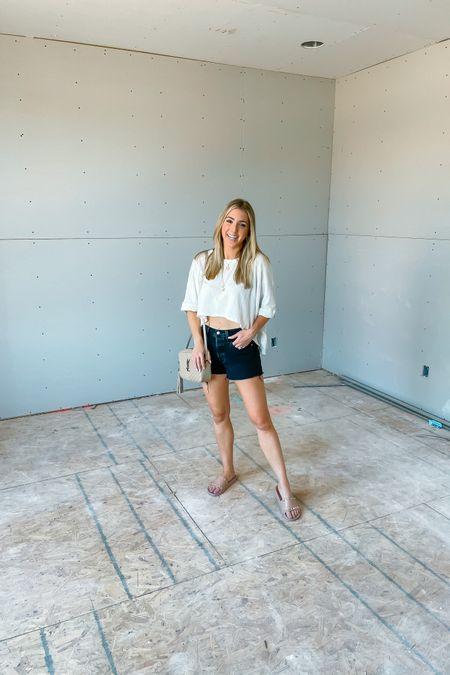Oversized free people top runs tue to size. My Jean shorts are so comfy! Size up. Sandals run tts @liketoknow.it #liketkit http:// #LTKshoecrush #LTKunder50 #LTKstyletip http://liketk.it/3i13Z