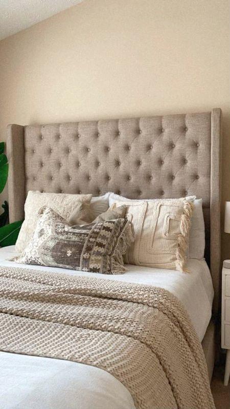 Affordable Bedroom decor duvet casaluna  @target accent pillows @hm @homegoods frame wingback frame Bobs   #LTKhome #LTKfamily #LTKunder100