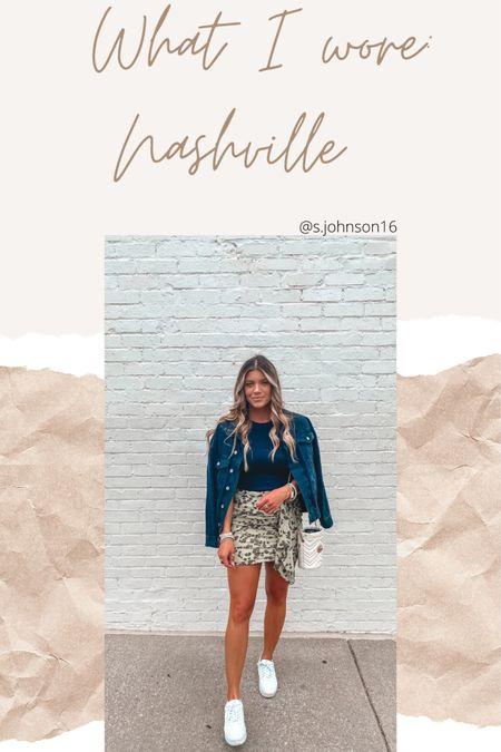 Nashville look to grab tacos and margs!  Size small in tank under $10 Size small in oversized denim jacket Size medium in skirt Shoes $15 TTS  http://liketk.it/3hSmd #liketkit @liketoknow.it #LTKsalealert #LTKstyletip #LTKunder50