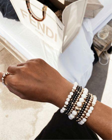 Onyx bracelet, 8mm size still available, StylinByAylin Collection, summer jewelry, everyday jewelry, 14k gold filled beads, use code STYLIN10 at checkout   #LTKunder100 #LTKstyletip #LTKSeasonal