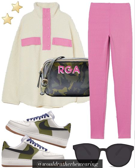 Would Rather Be Wearing: white and pink pullover, pink leggings, camo monogrammed crossbody bag, custom colored nike air force one sneakers, black sunglasses and star stud earrings 💗🕶✌🏼