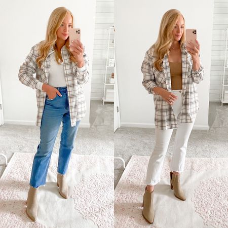 Plaid shacket styled with mom jeans or white jeans and booties   #LTKSale