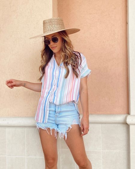 That Friday feelin 💕 This little rainbow striped button up top is so cute for summer and only $14! http://liketk.it/3gQlv @liketoknow.it #liketkit #LTKstyletip  #LTKunder50 #LTKunder100