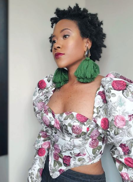 Puff sleeve  Floral  Bustier  Tops  Blouses  Shein  under30    #LTKunder50 #LTKunder100 #LTKsalealert