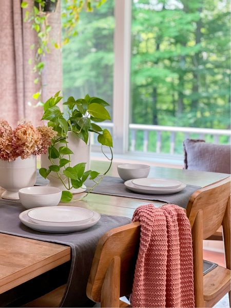 Setting the dining table is so easy with these pieces from the Linden Street collection! I love this dining dish set, simple table runner and cable knit blanket.   #LTKhome #LTKunder100 #LTKSeasonal