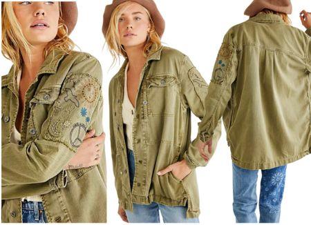 Embroidered Military Shirt Jacket from *Free People*   #LTKSeasonal #LTKstyletip #LTKworkwear
