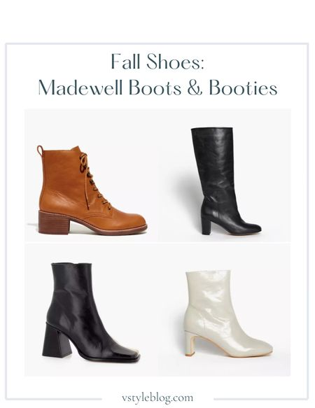Boots, Fall outfits, Work wear, Teacher outfits, Fall family photos, Fall shoes, Booties, Brown boots, Black boots, Black and beige color block booties, White booties,  Madewell  The Patti Lace-Up Boot ($228) INTENTIONALLY BLANK Pam Boots ($275) ALOHAS South Bicolor Stone Beige & Black Boot ($264) INTENTIONALLY BLANK Etta Crinkle Boots ($249)  #LTKshoecrush #LTKSale #LTKSeasonal