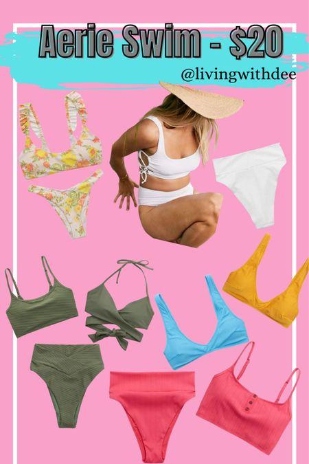 Aerie $20 bikini tops & bottoms - fits true to size, I wear a Large. / #aerie #summer #swim #midsize / http://liketk.it/3gqc0 #liketkit @liketoknow.it #LTKsalealert #LTKswim #LTKunder50