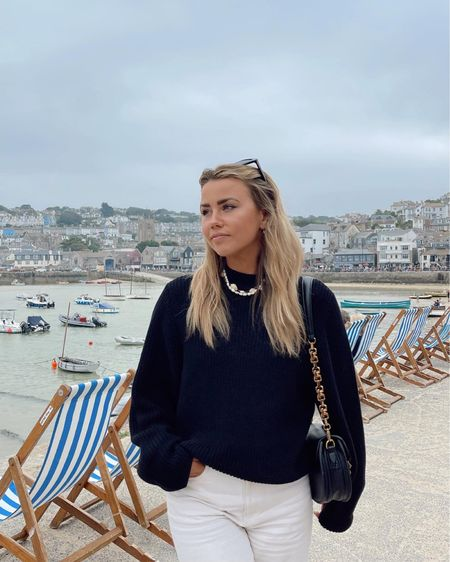 Exploring the uk on a staycation this autumn wearing my asos weekday black knit - such an essential knitwear piece for a fall wardrobe - especially teamed with a Pearl and shell necklace   #LTKSeasonal #LTKunder50 #LTKeurope