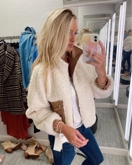 Faux shearling jacket on the Nordstrom sale wearing a medium for more oversized fit http://liketk.it/3jGEg @liketoknow.it #liketkit #LTKsalealert