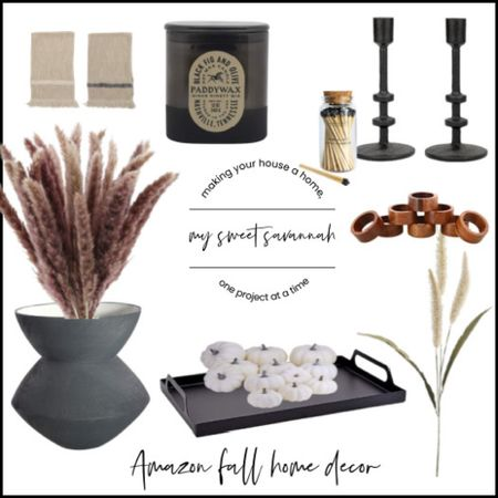 Fall home decor items from Amazon home!  My favorite vase and fig candle. Modern farmhouse metal candlesticks, faux florals and pumpkins!  #LTKhome #LTKSeasonal #LTKHoliday
