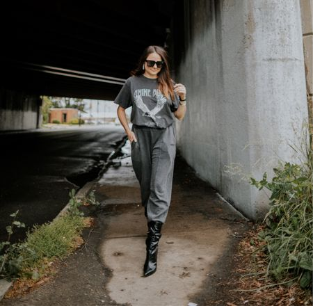 Fall fashion. Rebecca Piersol style. Fall outfit ideas. Black sweatpants anine Bing tee. Comfortable fall style.   #LTKstyletip #LTKSeasonal #LTKunder100