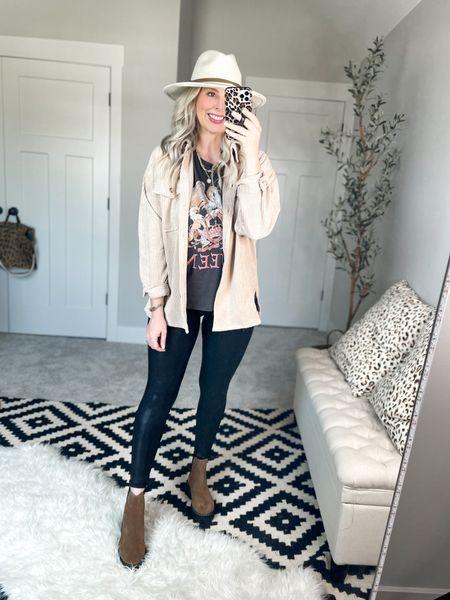The best shirt jacket shacket with graphic tee and Spanx faux leather leggings   #LTKunder100 #LTKshoecrush #LTKsalealert