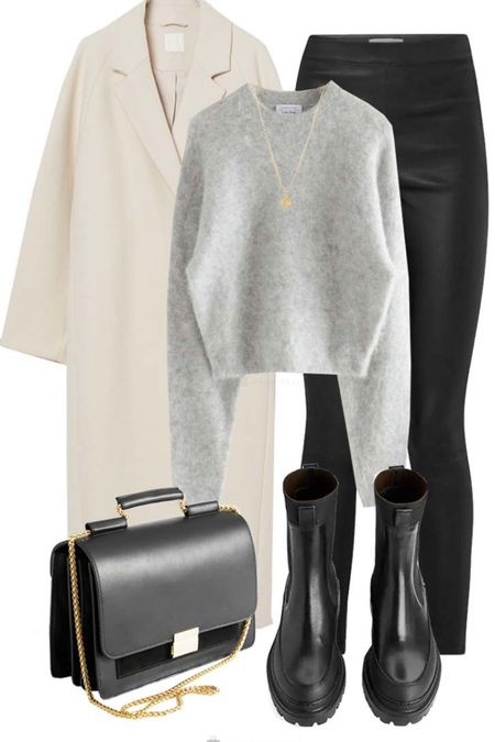 Winter #ootd | oversized coat | grey knitwear | leather bag | winter boots http://liketk.it/35kmu @liketoknow.it #liketkit #LTKitbag #LTKstyletip