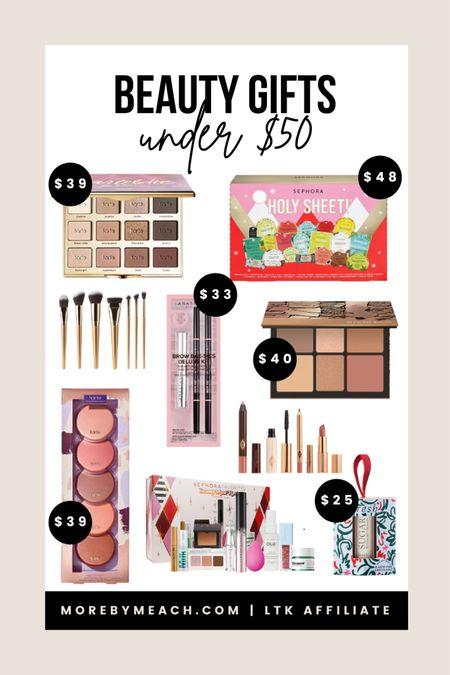 Christmas Gift Guide - Beauty Gifts Under $50!   makeup gifts, beauty gift sets, makeup palettes, eyeshadow palettes, Sephora, Ulta, Nordstrom, Tarte, Charlotte Tilbury  #LTKbeauty #LTKGiftGuide #LTKunder50