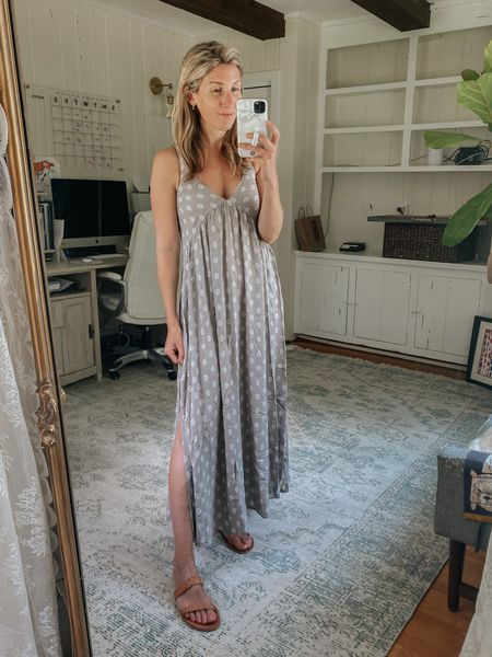 Love the fabric on this dress and the side slits!