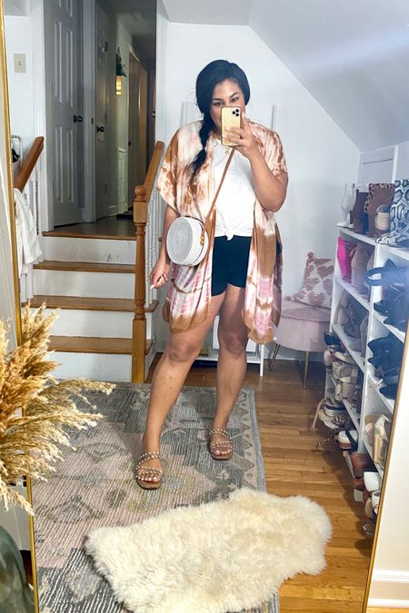 East summer outfit from evereve! #liketkit http://liketk.it/3gUrk      @liketoknow.it #LTKunder50 #LTKunder100 #LTKcurves   Tank: XXL Shorts: L Wrap: one size  Sandals: TTS  neutral loungewear, sweatshirt, summer outfit, mid size, midsize, size 12, size 14, z supply, airport outfit, pool outfit, blanknyc, retro jacket, linen