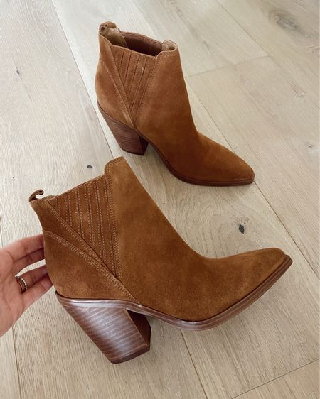 Cognac booties are part of the Nordstrom sale- great bootie for fall… I recommend going up a 1/2 size //   #LTKsalealert #LTKshoecrush #LTKunder100