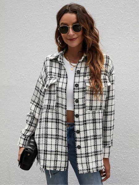 ✨🚨New Arrival: Plaid Print Flap Pocket Button Up Tweed Jacket- $24🚨✨ | Fall Fashion | Fall Jacket | Shacket | Tweed Jacket | Under $50 | Under $100 | Look for Less | Designer Dupe | Work Wear | Business Casual | Back to School |   #LTKstyletip #LTKsalealert #LTKunder50