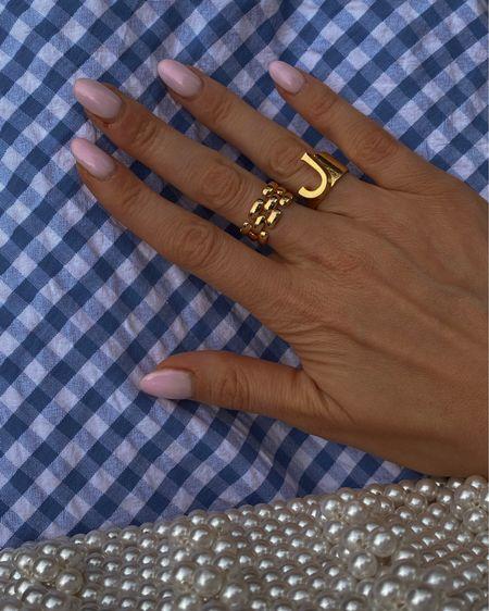 Gold ring, Monica vinader ring, Chloe ring, alphabet ring , j ring, blue gingham dress, Pearl bag @liketoknow.it #liketkit http://liketk.it/3mMyd #LTKstyletip #LTKwedding #LTKeurope