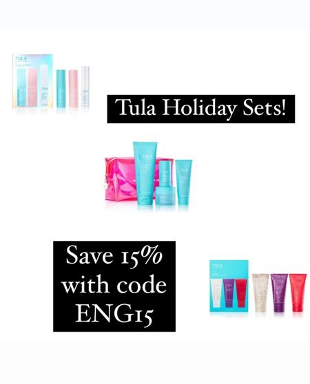 Tula holiday gift sets are now available! Try the eye balm 3 piece set, the skincare set, or the sugar scrub set. Save 15% with code ENG15.    #LTKGiftGuide #LTKbeauty #LTKHoliday