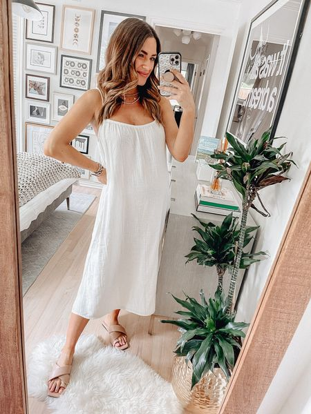 White dress : size small // dresses, white dresses, summer dress, summer dresses, sandals, summer outfits, summer dress, midi dress, H&M fashion   #LTKunder50