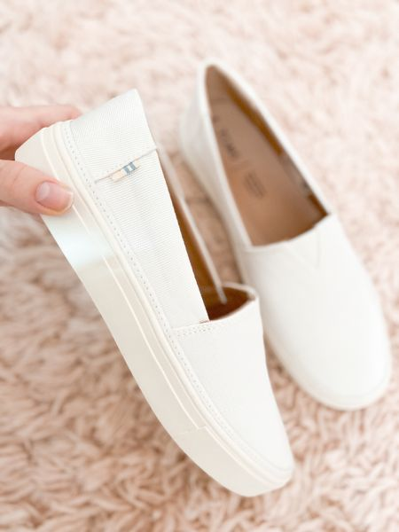 White slip on toms! Easy to wear w/ any summer outfit + look so fresh and pretty! Make sure to size up 1/2 size though.  #LTKunder100 #LTKstyletip #LTKshoecrush