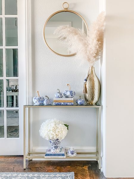 Fall entry table decor. I love the blue and white chinoiserie pumpkins.     #LTKhome #LTKSeasonal #LTKstyletip