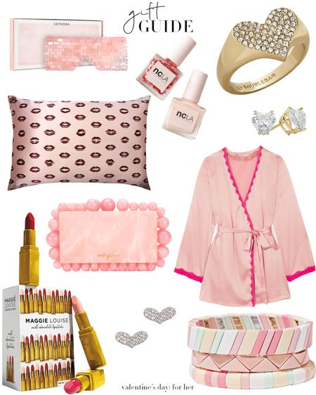 Valentine's Gift Guide for her 💘💘💘  http://liketk.it/2Kbmo #liketkit @liketoknow.it #LTKitbag #LTKunder50 #LTKunder100 Download the LIKEtoKNOW.it app to shop this pic via screenshot  • • • • •  #ltkgiftguide #giftguide #giftideas #gift #valentines #valentinesday2020 #valentinesdaygift #pink #chocolate #bag #style #stylefile #rosequartz #facemask Heart-shaped jewelry, a silky robe and yummy lipstick-inspired chocolates (and more) 💗