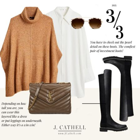 Three different Autumn looks with 1 bag. Thus YSL bag is the just gorgeous brown that compliments each of these looks. Denim, dressy, fun and flirty.   #LTKunder100 #LTKstyletip #LTKsalealert