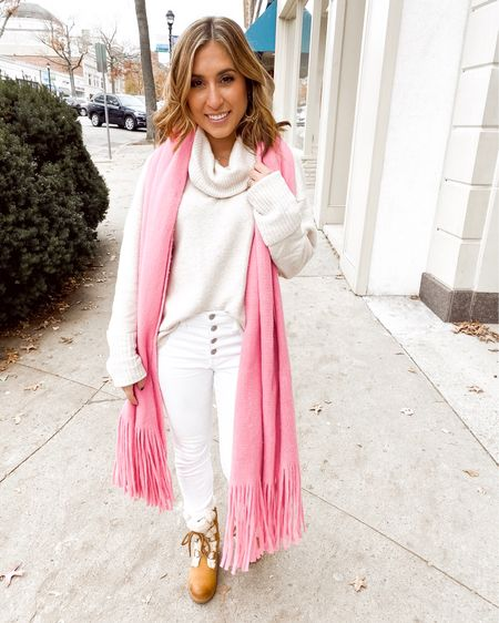 Thanksgiving outfit, all white neautral, pop of pink, blanket scarf, shearling wedge booties, cowlneck sweater http://liketk.it/2H1Pt #liketkit @liketoknow.it