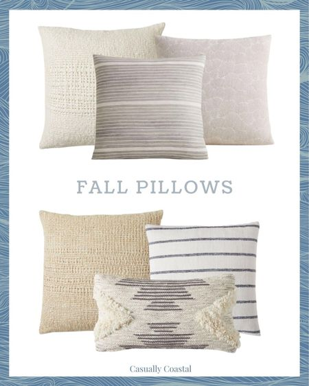 Many of West Elm's pillows are on sale right now, and some include free shipping. Here's two different pillow combos that I'm loving right now! - home decor, decor under 50, home decor under $50, fall decor, fall decorations, fall home decorations, coastal decor, beach house decor, beach decor, beach style, coastal home, coastal home decor, coastal decorating, coastal interiors, coastal house decor, home accessories decor, coastal accessories, beach style, blue and white home, blue and white decor, neutral home decor, neutral home, natural home decor, fall pillow covers, neutral fall pillows, textured pillows, striped pillows, neutral fall pillows, fall pillows, woven pillow covers, west elm pillows, pillow covers on sale, blue and white pillows, blue and white striped pillow covers, 24x24 pillow covers, 20x20 pillow covers, lumbar pillow covers  #LTKunder50 #LTKhome #LTKSeasonal