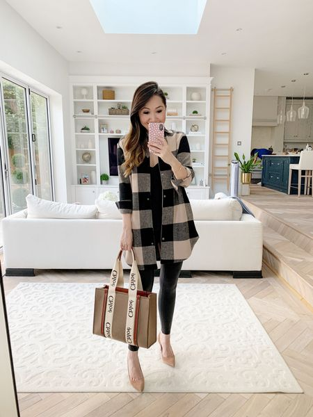 Plaid shacket for the win 😍 Cannot get enough of this trend! Teamed here with my favourite faux leather leggings and new Chloe Woody tote ❤️   Took an XS in the shacket and a size small in the leggings ✨